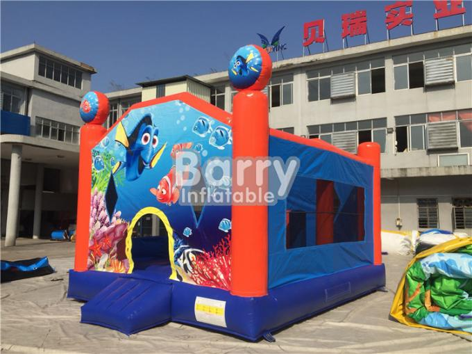 Customized Seaworld Theme Inflatable Bouncer For Kids / Blow Up Jumping Castle