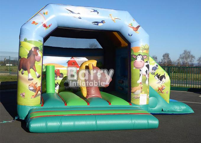 Commercial Children Inflatable Farm Theme Bounce House Combo With Slide For Kids