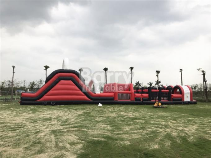 Red Great Commercial Obstacle Course Bounce House  , Inflatable Rush Extreme Obstacle