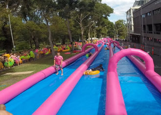 China Huge Commercial Inflatable Slip And Slide Double Lane In Pink supplier