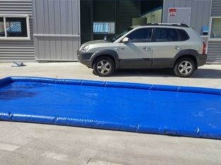 China Flexible Blue Car Wash Mats Water Containment Printing Double - Tripple Stitch supplier