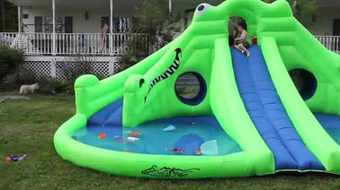 Commercial Inflatable Water Park , Green Inflatable Water Slide Pool supplier