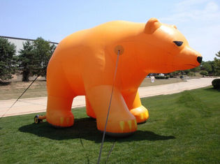Advertising Inflatable Cartoon Yellow Polar Bear With CE / UL Blower supplier