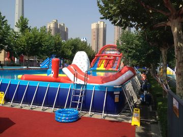 China Commercial Metal Frame Pool Red Water Slide Pool With Floating Toys supplier
