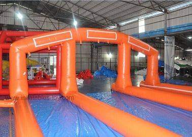 Orange 1000 Ft Giant Inflatable Water Slide With Double - Tripple Stitch supplier
