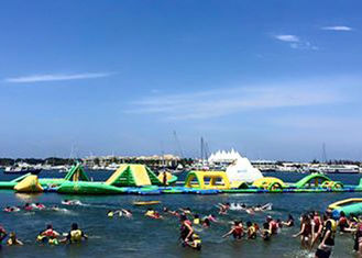 China Giant Open Water Inflatable Water Park , Best Fun Beach Water Parks With Logo Printing supplier