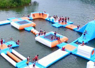 Largest Indoor Outdoor  Island Water Park For Family , Beach Waterpark Floating Obstacle supplier