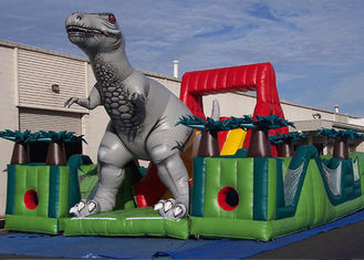 China Amazing Jurassic Survivor Dinosaur Inflatable Obstacle Course , Toddler Obstacle Course supplier