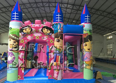 Pink Dora Cartoon Commercial Inflatable Slide With Bouncy Castle / Bouncy Slide supplier