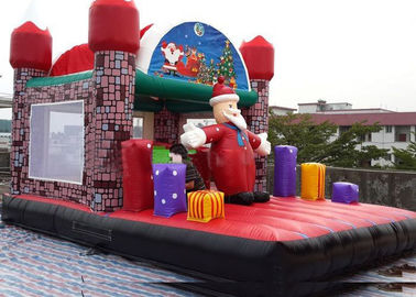Jungel Inflatable Toddler Playground , Santa Claus House Outdoor Bouncy Castle supplier