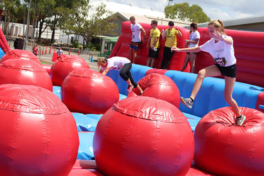 0.55mm PVC Inflatable 5k Run / Commercial Inflatable Obstacle Course Big Red Event Equipment supplier