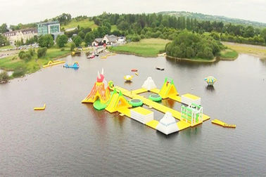 Awesome Super Large Bay Inflatable Water Park , Yellow Water Sports For Ocean supplier