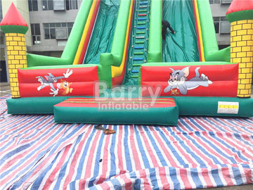 Tom / Jack 14m Length Double Lane Slip Inflatable Dry Slide With Air Blower supplier