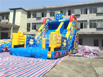Children Small Robot Inflatable Dry Slide For Amusement Park / Rental Business supplier