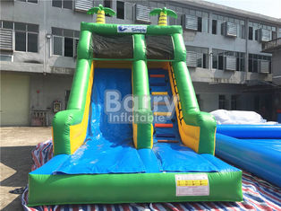 Single Lane Green Jungle Commercial Inflatable Slide Zoo Printing For Children supplier