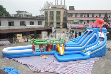 China Octopus / Jungle Inflatable Hurricane Backyard Water Slide With Obstacle Course supplier