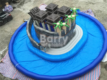Summer Water Game Jungle Themed Inflatable Blow Up Water Park With Centre Slide supplier