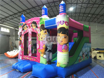 Pink Princess Large Dora Inflatable Bounce House Commercial With Digital Printing supplier