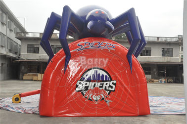Waterproof PVC Red Cool Spider Design Giant Inflatable Football Tunnel , Inflatable Tunnel Tent supplier