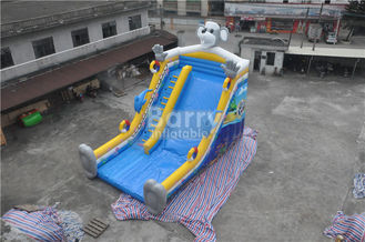 QiQi elephant single lane Blow Up Slide with digital printing , commercial dry slide supplier