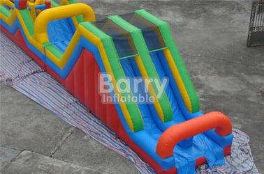 Long 3 parts Bouncy Castle Obstacle Course equipment for adults and kids supplier