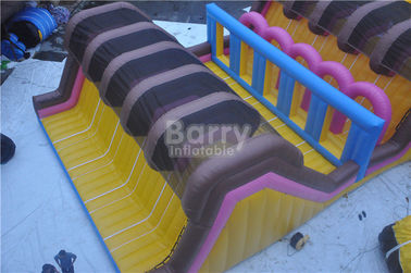 Custom Amusement Amazing Adults Inflatable Obstacle Course With Swimming Pool supplier
