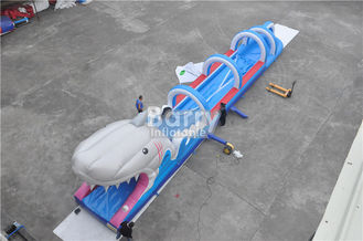 0.55mm PVC Tarpaulin Inflatable Water Slides For Kids , Custom Sharp Inflatable Slip n Slide supplier