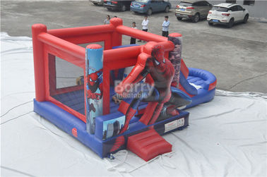 Spiderman Bouncy Castle , Round Inflatable Bouncer Combo With Slide supplier