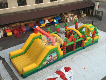 Challenging Inflatable Obstacle Course Bounce House Red , Blue , Black supplier