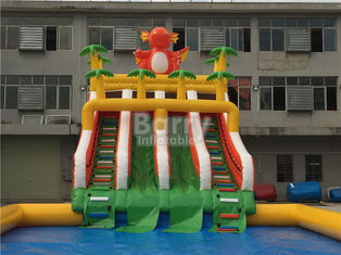 Custom Dinosaur Slide Inflatable Water Park With Pool For Summer supplier