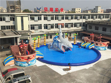 China Giant Pirate Ship Theme Inflatable Water Park On Land 36.5x20x8.5mH supplier