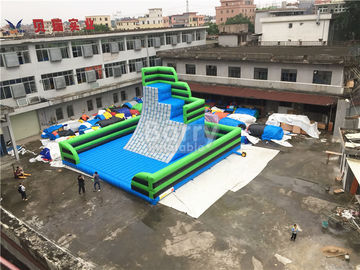 China Green Outdoor Inflatable Climbing Wall Obstacle Course With Bottom Mat supplier