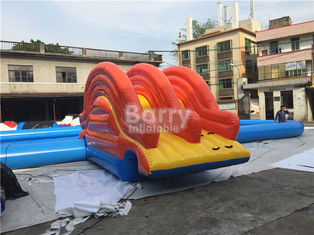 Rectangle Shape Inflatable Pool With Small Slide For Water Ball Or Paddle Boats supplier