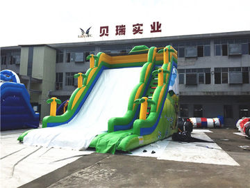Professional Commercial Inflatable Slide For Kids Green Jungle Single Lane supplier