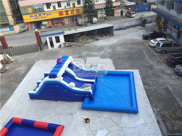 China Blue Wave Ultimate Inflatable Backyard Water Park With Pool Customzied Size supplier