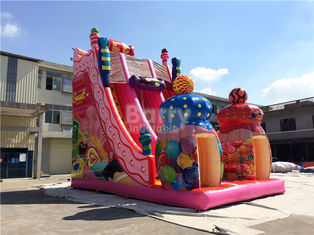 China Pink Candy 0.55mm PVC tarpaulin Outdoor Giant Inflatable Slide / Blow Up Amusement Park supplier
