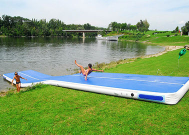 Long Blue Smooth Rubber Air Tight Yoga Mat , Floating Inflatable Air Track For Water supplier