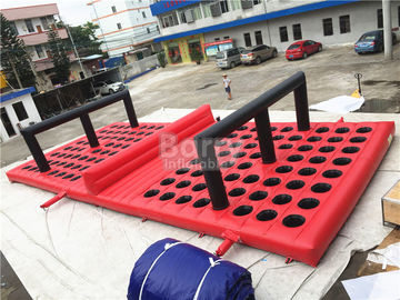 Commercial Funny Game Red Inflatable Obstacle Course For Amusement Park supplier