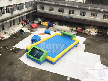 Door Close To Door Outdoor Inflatable Soap Football Arena , Inflatable Water Football Pitch With Bottom supplier
