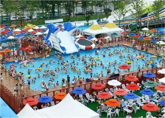 China Large Frame Outdoor Inflatable Water Park With Pool , Inflatable Backyard Water Park supplier