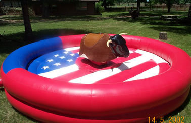China Round Inflatable Mechanical Bull , PVC Tarpaulin Inflatable Mechanical Bull Ride Game supplier