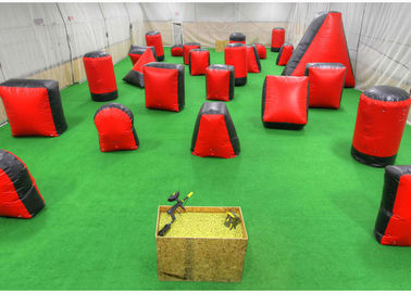 China Outdoor Shooting Inflatable Sport Games , Red PVC Inflatable Paintball Guns supplier
