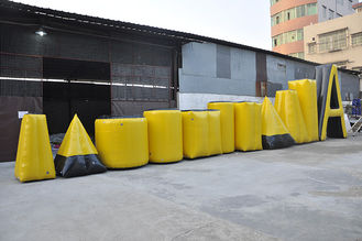 Yellow Inflatable Sports Games Paintball Bunker , PVC Tarpaulin Inflatable Airsoft Bunker supplier