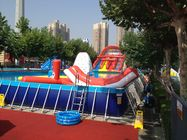China Commercial Metal Frame Pool Red Water Slide Pool With Floating Toys factory