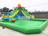 China Green Castle Theme Waterproof Inflatable Pool With Octopus Slide On Ground factory