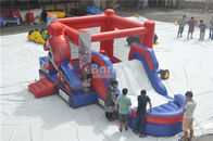 China Spiderman Bouncy Castle , Round Inflatable Bouncer Combo With Slide factory