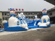 China Outdoor Amazing Bear Inflatable Water Park With Slide Blue And White factory