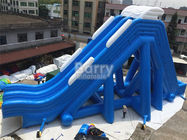 Blue Double Lanes Giant Inflatable Slide For Water Pool Fire Retardant