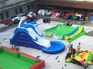 Commercial Giant Pvc Tarpaulin Inflatable Water Slides With Pool Customized