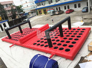 China Commercial Funny Game Red Inflatable Obstacle Course For Amusement Park factory